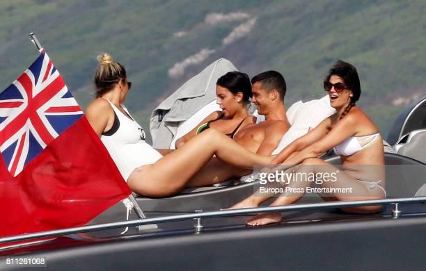 Real Madrid football player Cristiano Ronaldo his girlfriend Georgina Rodriguez and his sisters Katia Aveiro and Elma Aveiro are seen on July 8 2017...
