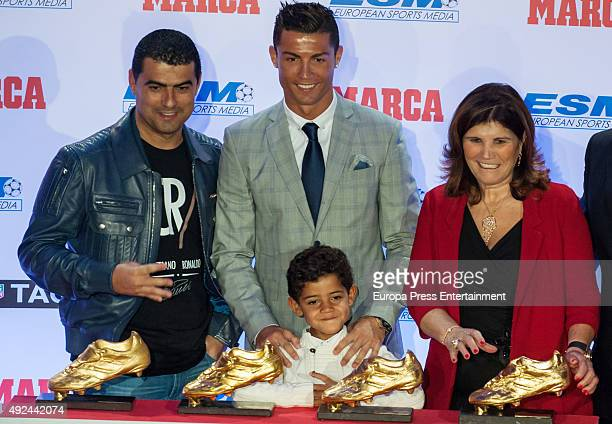 Real Madrid football player Cristiano Ronaldo , his son Cristiano Ronaldo jr, his brother Hugo Aveiro and his mother Maria Dolores Dos Santos Aveiro...