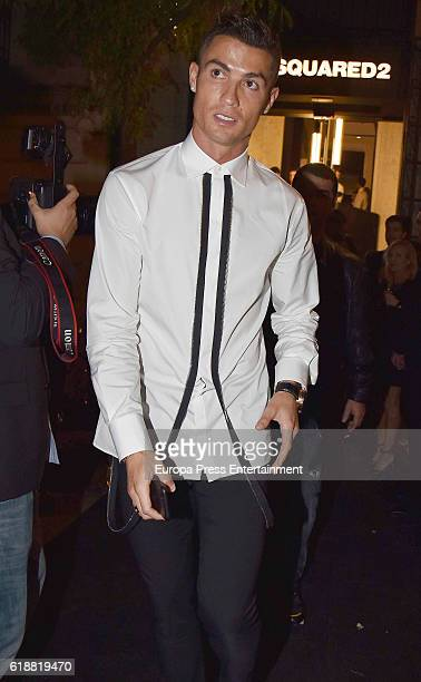 Real Madrid football player Cristiano Ronaldo is seen arriving at the opening party of Dsquared2 new store on October 21 2016 in Madrid Spain