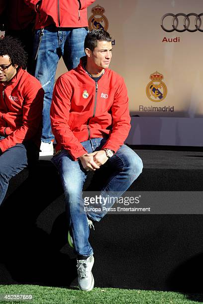 Real Madrid football player Cristiano Ronaldo is seen as he receives the keys of the new Audi cars during the presentation of Real Madrid's new cars...