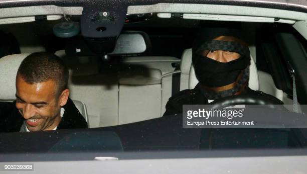 Real Madrid football player Cristiano Ronaldo is seen leaving a restaurant hiding his face with scarfs on January 9 2018 in Madrid Spain