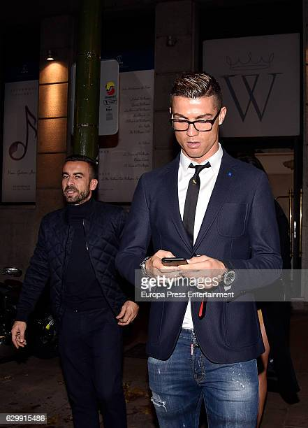 Real Madrid football player Cristiano Ronaldo is seen leaving a restaurant on December 10 2016 in Madrid Spain