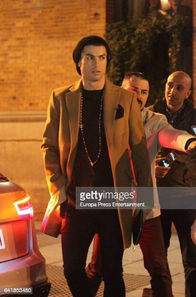 Real Madrid football player Cristiano Ronaldo is seen leaving a restaurant on January 30 2017 in Madrid Spain