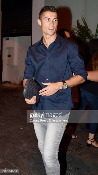 Real Madrid football player Cristiano Ronaldo is seen leaving a restaurant on September 13 2017 in Madrid Spain