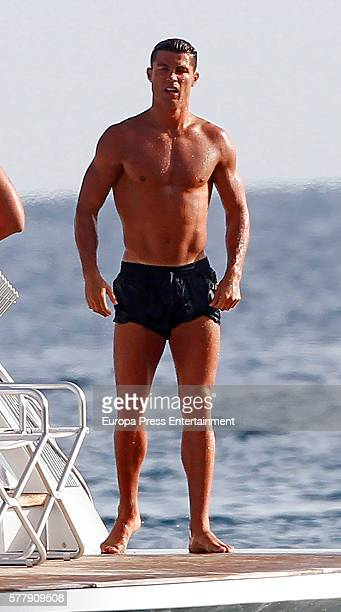 Real Madrid football player Cristiano Ronaldo is seen on July 19 2016 in Formentera Spain