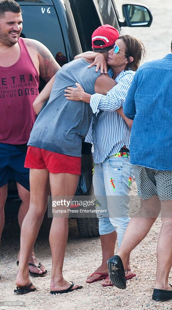 Real Madrid football player Cristiano Ronaldo (2L) is seen on July 20, 2016 in Ibiza, Spain.