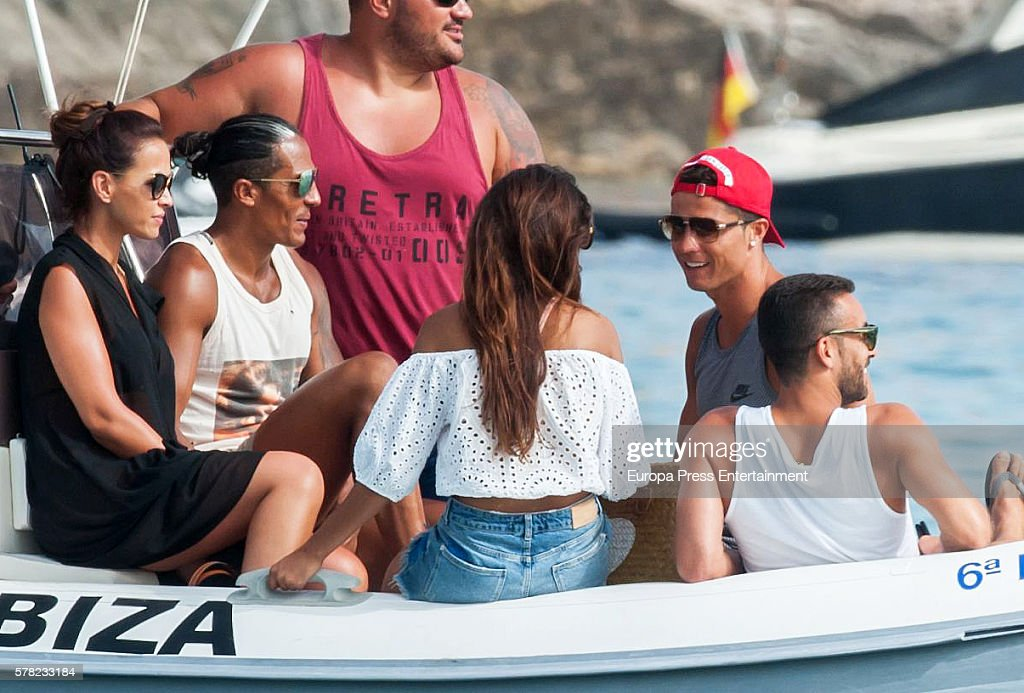 Real Madrid football player Cristiano Ronaldo (2R) is seen on July 20, 2016 in Ibiza, Spain.
