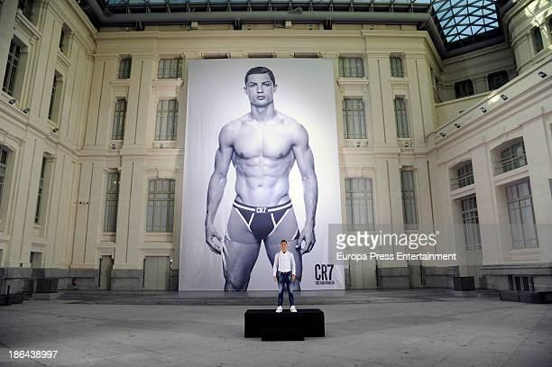 Real Madrid football player Cristiano Ronaldo launches his CR7 By Cristiano Ronaldo underwear line on October 31 2013 in Madrid Spain