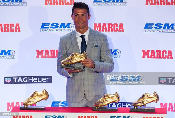 Real Madrid football player Cristiano Ronaldo receives his fourth Golden Boot Award as the highest goal scorer of the European leagues on October 13...