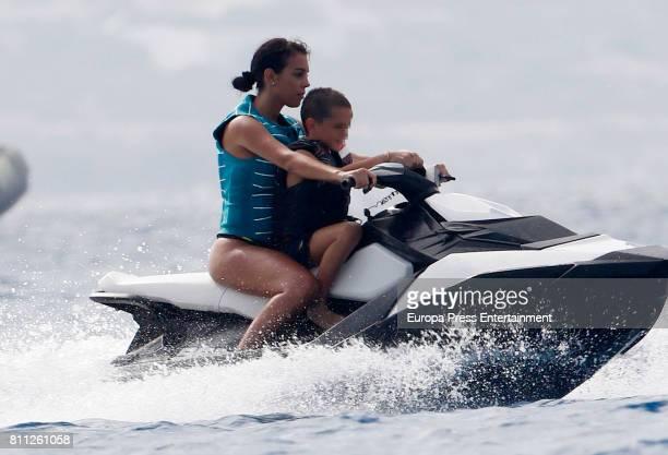 Real Madrid football player Cristiano Ronaldos girlfriend Georgina Rodriguez is seen on July 8 2017 in Ibiza Spain