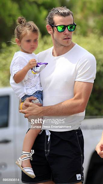 Part of this image has been pixellated to obscure the identity of the child Real Madrid football player Gareth Bale and his daughter Alba Violet Bale...