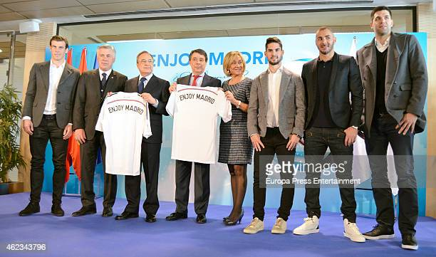 Real Madrid football player Gareth Bale coach Carlo Ancelotti President Florentino Perez Madrid President Ignacio Gonzalez guest football players...