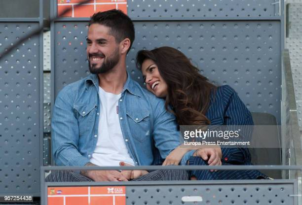 Real Madrid football player Isco Alarcon and Sara Salamo are seen attending the Mutua Madrid Open tennis tournament at the Caja Magica on May 10 2018...