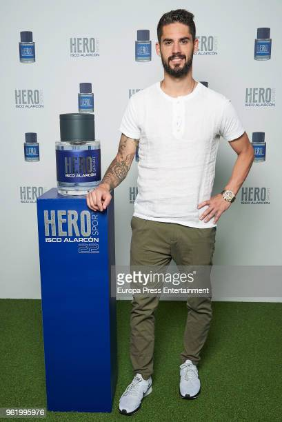 Real Madrid football player Isco Alarcon presents his frangance 'Hero' on May 23 2018 in Madrid Spain
