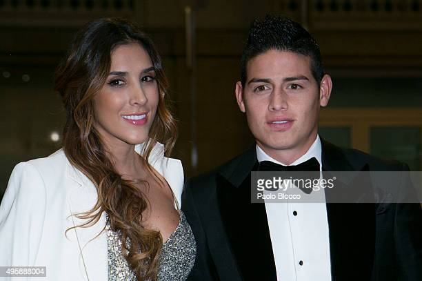 Real Madrid football player James Rodriguez and wife Daniela Ospina are seen arriving to GQ Men of The Year awards at Palace Hotel on November 5 2015...