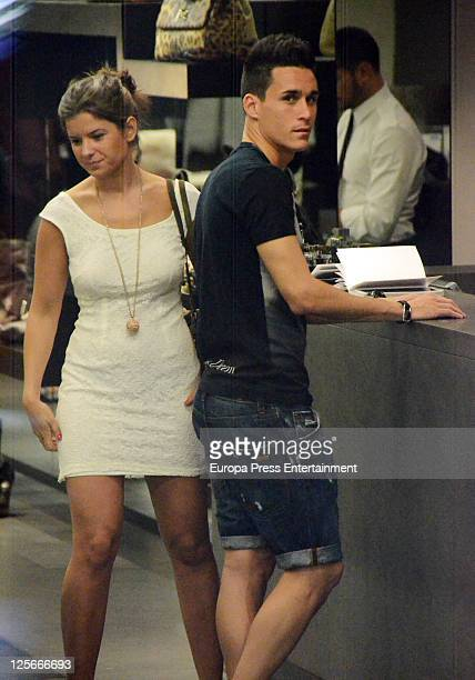Real Madrid football player Jose Maria Callejon and his girlfriend are seen going for shopping at Dolce Gabbana store at La Milla de Oro on September...