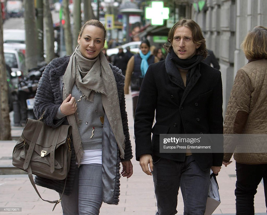 Real Madrid football player Luca Modric and Wife Vanja Bosnic Sighting In Madrid - February 18, 2014 : News Photo