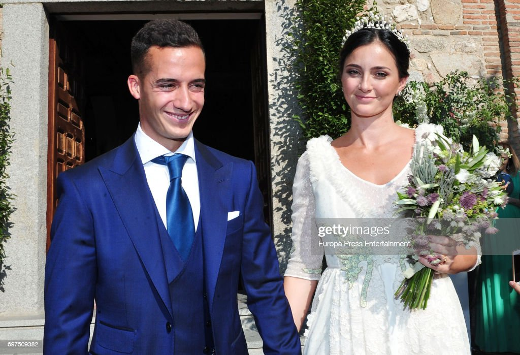 Real Madrid football player Lucas Vazquez and Macarena Rodriguez attends their wedding on June 18, 2017 in Madrid, Spain.