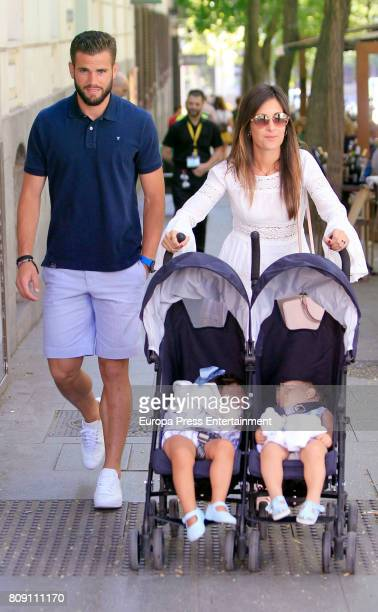 Real Madrid football player Nacho Fernandez Iglesias and his wife Maria Cortes and kids Nacho Fernandez and Alejandra Fernandez are seen on July 4...