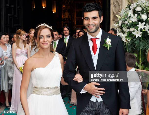Real Madrid football player Raul Albiol and his girlfriend Alicia Roig get married at Valencia's cathedral on June 17, 2011 in Valencia, Spain.