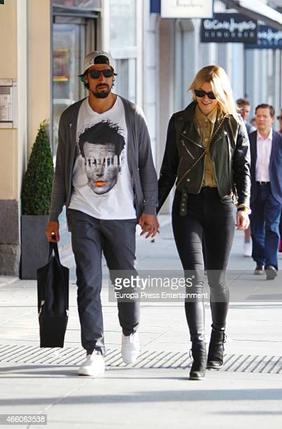Real Madrid football player Sami Khedira and Lena Gercke are seen on March 12 2015 in Madrid Spain