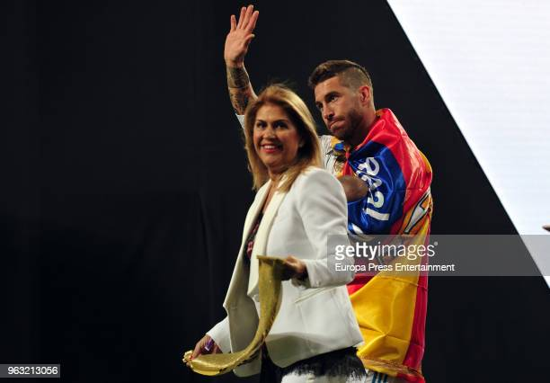 Real Madrid football player Sergio Ramos and mother Paqui Garcia during the Real Madrid team celebration after winning their 13th European Cup on May...