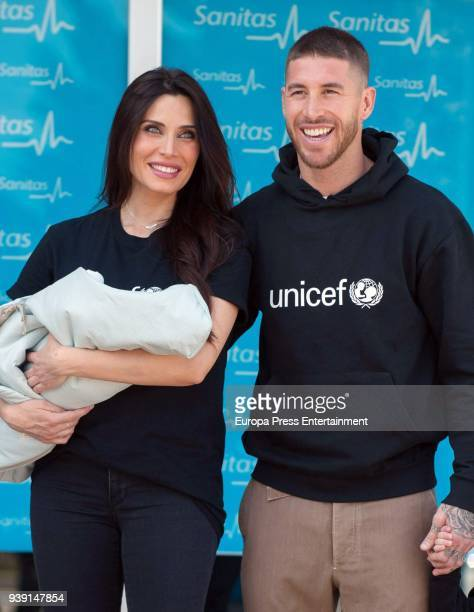 Real Madrid football player Sergio Ramos and tv presenter Pilar Rubio present their new born child Alejandro Ramos Rubio on March 28, 2018 in Madrid,...