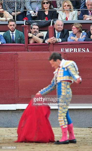 Real Madrid football player Sergio Ramos attend bullfighting during San Isidro Fair at Las Ventas Bullring on May 18 2016 in Madrid Spain