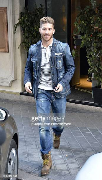 Real Madrid football player Sergio Ramos is seen leaving a restaurant on January 24 2013 in Madrid Spain