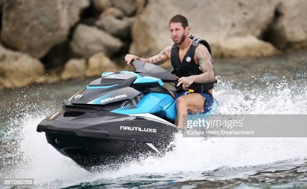 Real Madrid football player Sergio Ramos is seen on May 29 2017 in Ibiza Spain