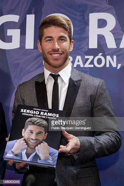 Real Madrid football player Sergio Ramos presents new book 'Sergio Ramos Corazon Caracter y Pasion' at Estadio Santiago Bernabeu on December 10 2012...