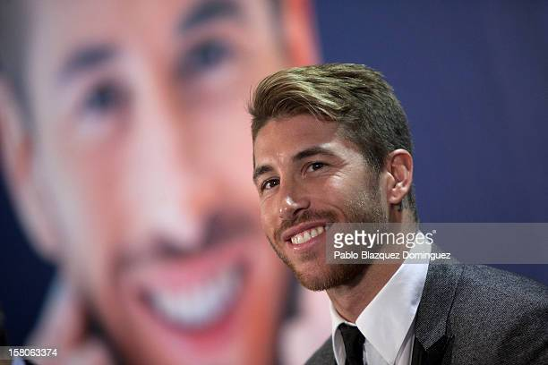 Real Madrid football player Sergio Ramos presents new book 'Sergio Ramos Corazon Caracter y Pasion' at Estadio Santiago Bernabeu on December 10 2012...