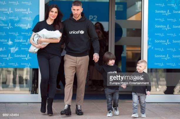 Real Madrid football player Sergio Ramos tv presenter Pilar Rubio kids Sergio Ramos Rubio and Marco Ramos Rubio present the new born child Alejandro...