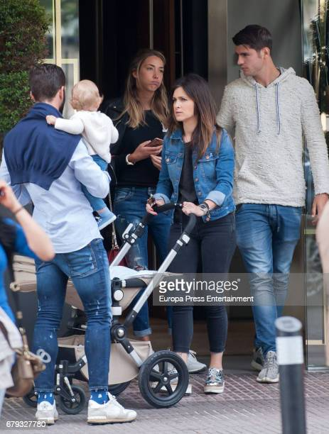 Real Madrid football players Alvaro Morata and his girlfriend Alice Campello and Nacho Fernandez Iglesias and his wife Maria Cortes and son Nacho...