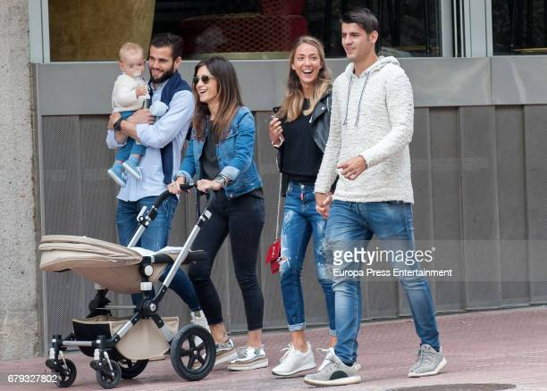 Part of this image has been pixellated to obscure the identity of the child Real Madrid football players Alvaro Morata and his girlfriend Alice...