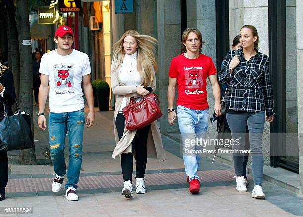 Real Madrid football players Luka Modric and wife Vanja Bosnic and Mateo Kovacic and his girlfriend Izabel Andrijanic are seen on September 17 2015...