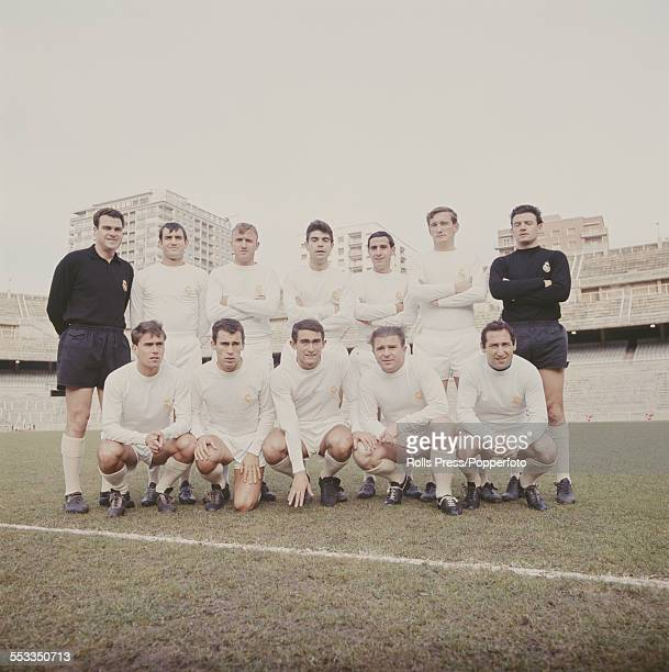 Real Madrid football team pictured together circa 1965 Back row from left to right Antonio Betancort Vincente Miera Jose Santamaria Manuel Sanchis...
