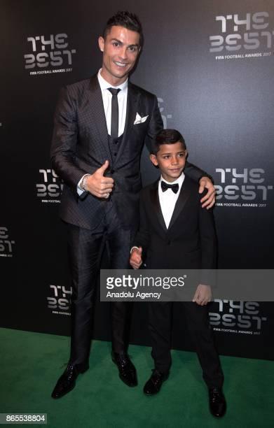 Real Madrid forward Cristiano Ronaldo and his son Cristiano Ronaldo Jr arrive for the The Best FIFA 2017 Awards at the Palladium Theatre in London...