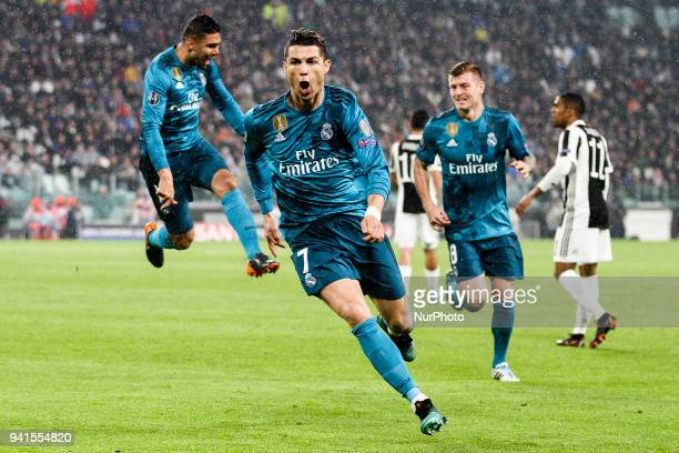 Real Madrid forward Cristiano Ronaldo celebrates after scoring his goal during the Uefa Champions League Round of 16 football match JUVENTUS REAL...
