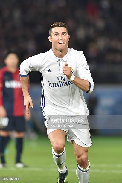 Real Madrid forward Cristiano Ronaldo celebrates his third goal in the match to make the final score 42 during the Club World Cup football final...