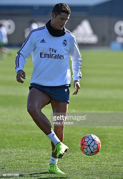 Real Madrid forward Cristiano Ronaldo practices his ball skills during a team training session during the International Champions Cup tournament in...
