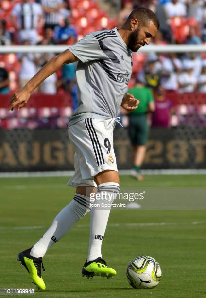 Real Madrid forward Karim Benzema warms up prior to an International Champions Cup match between Real Madrid and Juventus on August 4 at FedEx Field...