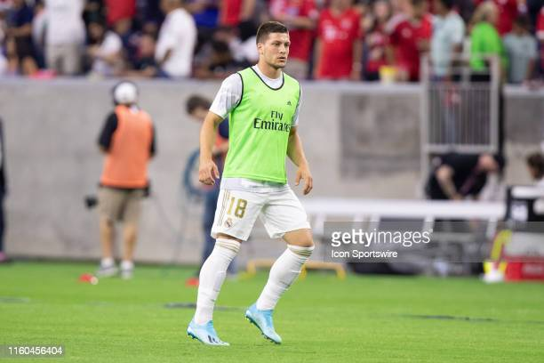 Real Madrid forward Luka Jovic warms up during the International Champions Cup soccer game between Bayern Munich and Real Madrid on July 20 2019 at...