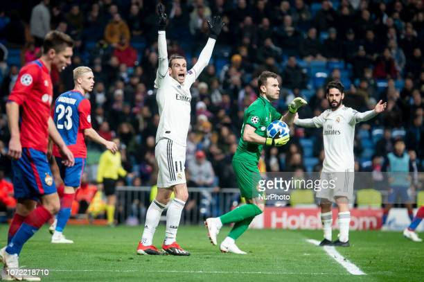Real Madrid Gareth Bale and Francisco Alarcon 'Isco' and PFC CSKA Moskva Hordur Magnusson and Igor Akinfeev during UEFA Champions League match...