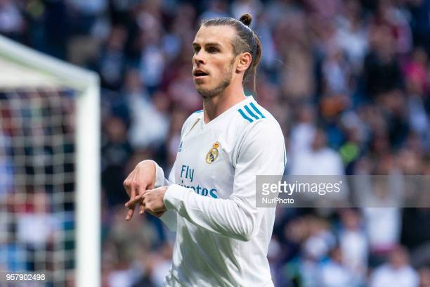 Real Madrid Gareth Bale celebrating a goal during La Liga match between Real Madrid and Celta de Vigo at Santiago Bernabeu Stadium in Madrid Spain...