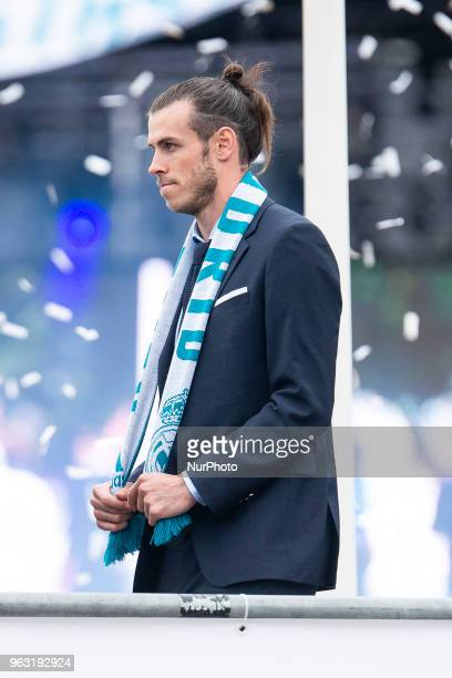 Real Madrid Gareth Bale during the celebration of the Thirteen Champions League at Cibeles Fountain Stadium in Madrid Spain May 27 2018