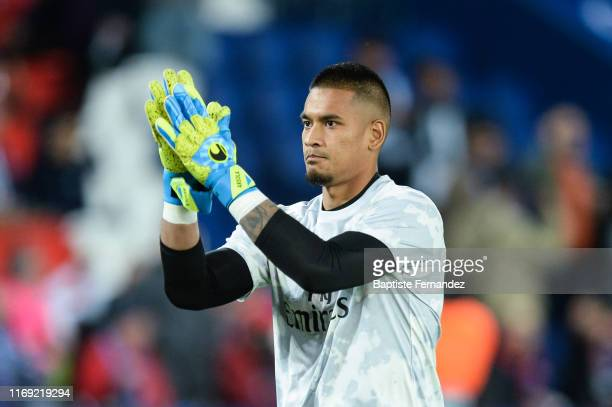 Real Madrid goalkeeper Alphonse AREOLA warms up before the UEFA Champions League Group A match between Paris Saint Germain and Real Madrid at Parc...
