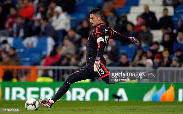 Real Madrid goalkeeper Antonio Adan in action during the round of last 16 Copa del Rey second leg match between Real Madrid and CD Alcoyano at...