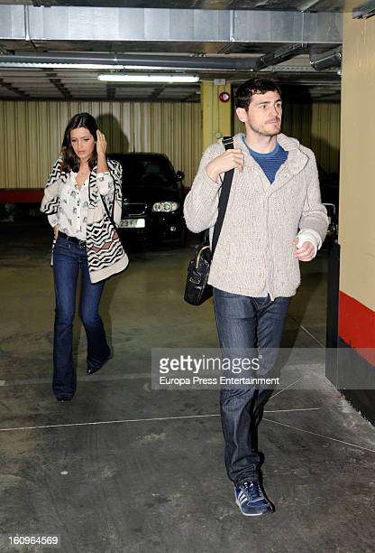 Real Madrid goalkeeper Iker Casillas and his girlfriend sport journalist Sara Carbonero visit the hospital after Iker suffered an injury in his left...