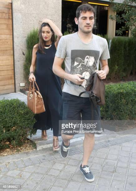 Real Madrid goalkeeper Iker Casillas and his girlfriend sport journalist Sara Carbonero are seen on September 22 2013 in Madrid Spain